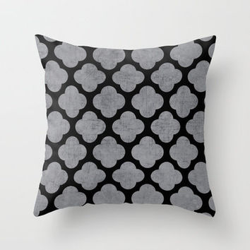 silver and black clover Throw Pillow by her art