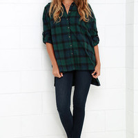 Across the Corral Green Plaid Button-Up Top