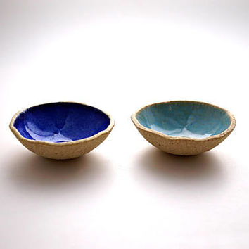 Set of 2 Turquoise-Blue ring Dish ,Ceramic Bowl,Jewelry Dish ,Jewelry Holder ,Candle Holder ,Ceramic plate,
