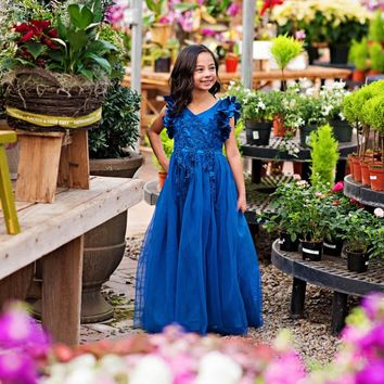 Ariana Royal Blue Petal Sleeve Satin & Lace Gown Dress
