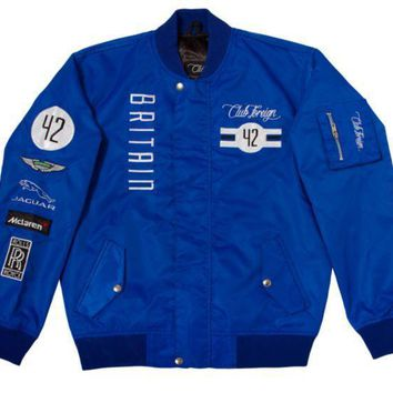 Club Foreign Britain Racing Jacket In Blue - Beauty Ticks