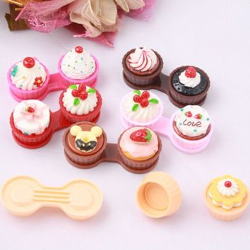 1Pcs Portable Cartoon Cute Cream Cake Travel Glasses Contact Lenses Box Contact Lens Case For Eyes Care Kit Holder Container
