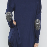 Navy Sequins Elbow Patch Pullover