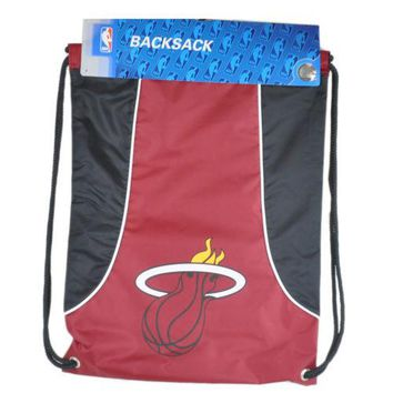 NBA Miami Heat Drawstring Back Pack Sack Gym School Book Bag Red Black Workout