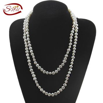 2015 SNH cultured freshwater pearl necklace four color real genuine long pearl necklace for woman with 4 different colors choice