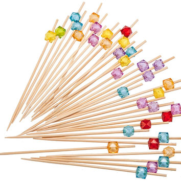 PuTwo Party Frilled Toothpicks, Sandwich, Cocktail, Appetizer Picks 100 Count - Multiple Color