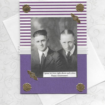 Purple Anniversary Card for Gay Couples Retro Vintage Style Collage Art Card - Looks LIke We Made It