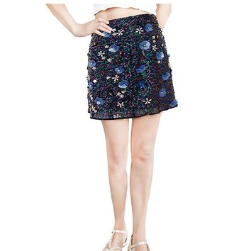 Women Hand Beaded Embroidery Flower Sequin Mini Chiffon Skirt Vintage Pearl Applique Luxury Gatsby Party Skirt