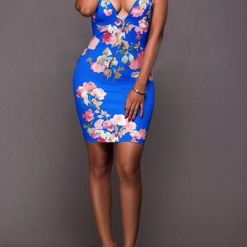 Casual Blue Floral Print Spaghetti Straps Backless Bodycon Homecoming Mini Dress