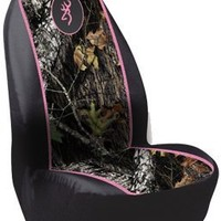 Browning Pink Buckmark Camo Pullover Bucket Seat Cover (Mossy Oak Break-Up Camo, Durable Polyester Fabric, Sold Individually)
