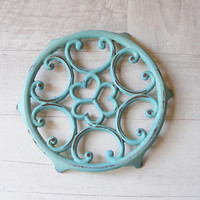 Lovely Vintage French Turquoise Cast Iron Enameled Table Mat,Trivet.