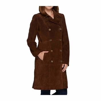 C. Wonder Women's Double Breasted Suede Trench Coat
