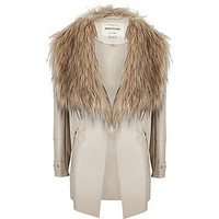 Girls beige waterfall faux suede jacket