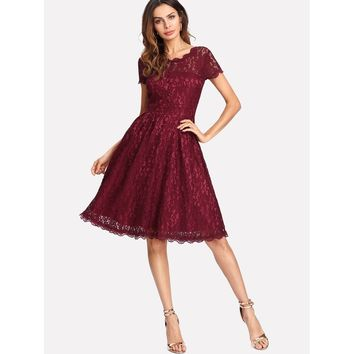 Button Front Lace Dress