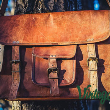 Vintage Handmade Rustic Goat Leather 15'' Messenger Satchel Laptop Bag