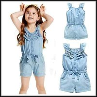 2016 new summer baby girl romper demin sleeveless one pieces Jumpsuit clothing