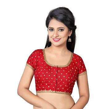 Designer Indian Traditional Red Dupion Silk Padded  Half Sleeves Saree Blouse Choli (Co-455Sl)