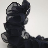 Chiffon Ruffle Wave Flower Banana Hair Clip Accessory Clamp