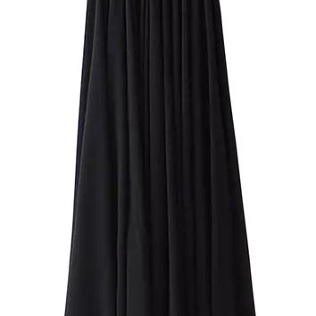 Black Pleated Chiffon Maxi Skirt