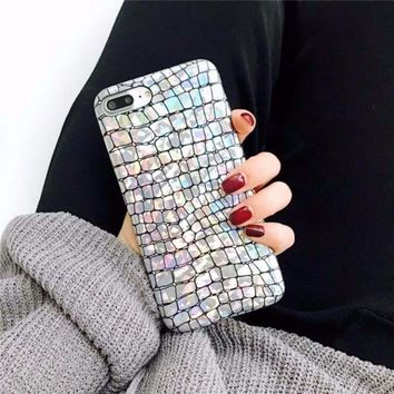 Holographic Crocodile Pattern Soft Phone Case For iPhone 8 7 Plu 207964b84