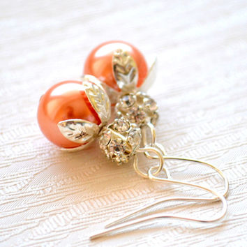 Peach Coral Light orange bridesmaid earrings Light Orange bridesmaid jewelry set, Pearl and rhinestone jewelry wedding jewelry earrings