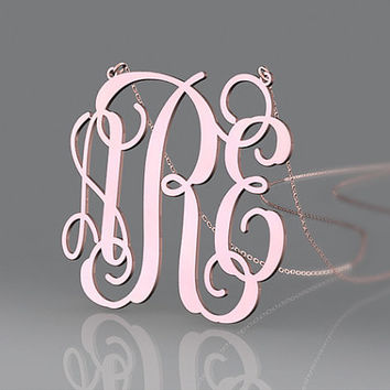 Beautiful girl's name necklace customized with 3 initial monogram necklace jewelry plated in rose gold