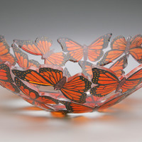 Large Monarchs Bowl by Ann Alderson Biba: Art Glass Bowl | Artful Home
