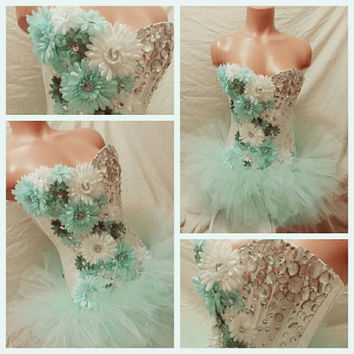 Mint Daisy Corset Rave Bra, Rave Outfit, Rave Corset, EDC Costume, Custom Rave Outfit