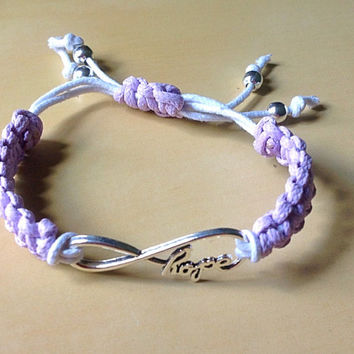 Purple or Lavender Love or Hope Macrame Hemp Infinity Bracelet-Any Color-Awareness-Stackable-Epilepsy-Alzheimer's-Lupus-