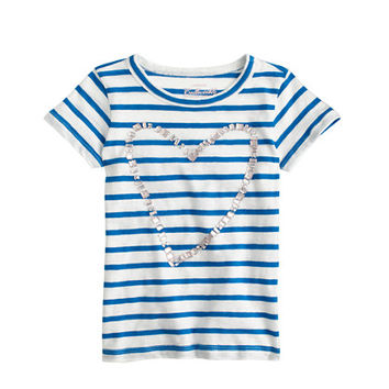 crewcuts Girls Striped Sequin Heart T-Shirt