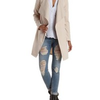 Khaki Collarless Draped Trench Coat by Charlotte Russe
