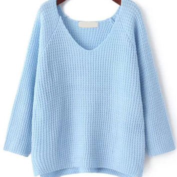 Pale Blue V Neck Long Sleeve Sweater