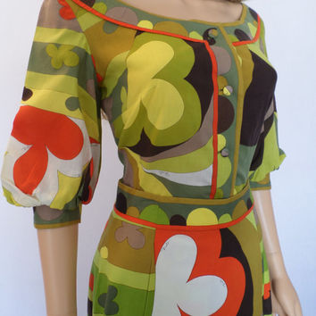 Vintage 1960's EMILIO PUCCI Op Art PsYcHeDeLiC MoD Outfit Skirt & Blouse Dress 12 M