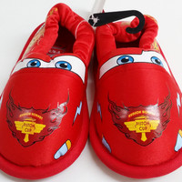 Kids Toddler Boys Stride Rite Disney Lightning McQueen Red Warm House Slippers size 7/8 Shoes