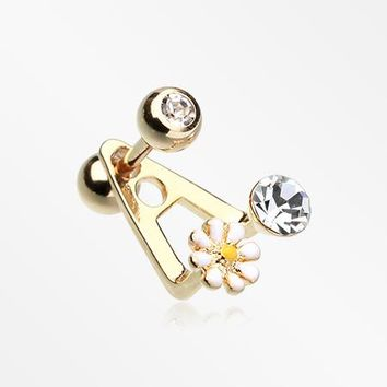 Golden Dainty Daisy Cartilage Cuff Ring