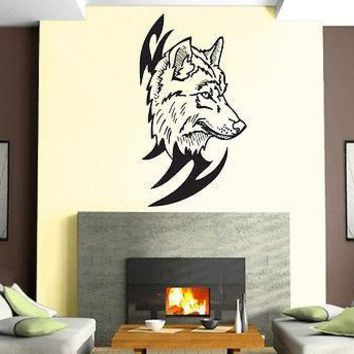 Wolf Head Predator Aggressive Tribal  Mural  Wall Art Decor Vinyl Sticker Unique Gift z902