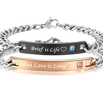 His & Hers Matching Set Stainless Steel Couple Brief is Life But Love is Long Bracelet in a Gift Box