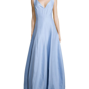Sleeveless V-Neck Gown, Chambray, Size: