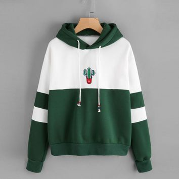 FeiTong Autumn Spell Color Stitching Harajuku Women Hoodies Pullover Fleece Loose Female Tracksuits Kpop Sweatshirt Female