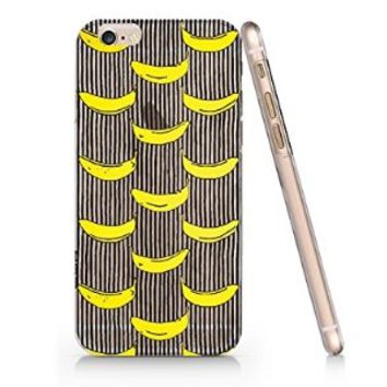 Bananas And Stripped Black Pattern Slim Iphone 6 Case, Clear Iphone 6 Case Plastic Hard Case Unique Design-Quindyshop (AMSL20)