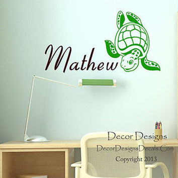 Sea Turtle Custom Name Wall Decal