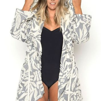 Olivia Hooded Robe - Navy Kelp Print