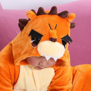 Lion Children Kids Unisex Pajamas  Halloween Christmas Costume Animal Onesuit Sleepwear For Boys Girls