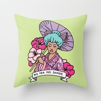 No Tea No Shade Sassy Feminist Bey Geisha Kawaii Print Throw Pillow by BigKidult | Society6