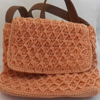 White Stag Coral Crocheted Spring Handbag New