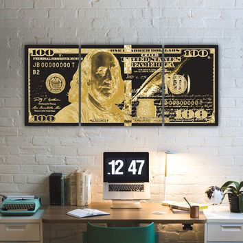 $100 Bill Money Art Black and Gold Money Canvas Print
