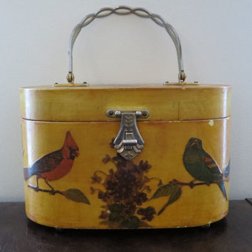Cute Vintage Wooden 50s 60s Novelty Bird Basket Bag / Purse / Large / Picnic