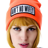 Dimepiece Ain't No Wifey Beanie Orange One