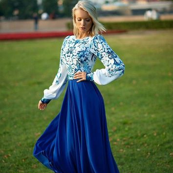 Blue Floral Print Long Sleeve Maxi Dress