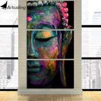 HD Printed 3 Piece Canvas Wall Art abstract Zen Buddha Face Painting Modular Wall Art Canvas art drop shipping CU-2170D